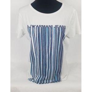 Armani Jeans White Blue Striped T-Shirt